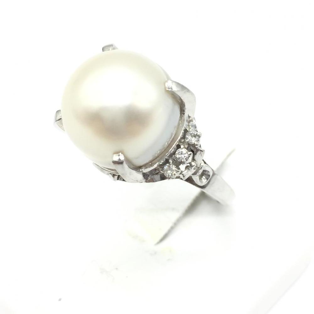 ジュエリー アクセサリー パールリング 指輪 プラチナ PT900 総10.9g 真珠 ダイヤモンド D0.1ct 貴金属 11号 レディース 中古 管理RT15310
