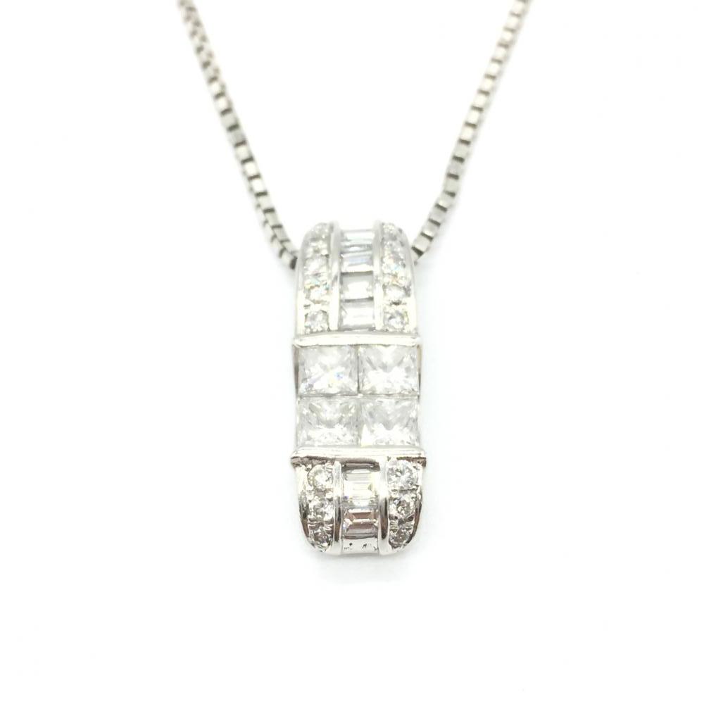 ジュエリー アクセサリー プラチナ ネックレス チェーンpt850 6.1g トップpt900 4.2g ダイヤモンド D1.36ct 貴金属 中古 管理RT15317