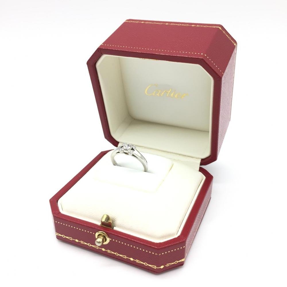 Cartier カルティエ ソリテール リング 指輪 プラチナ ダイヤモンド PT950 D0.18 鑑定書付 ケース レディース アクセサリー 管理RT15462