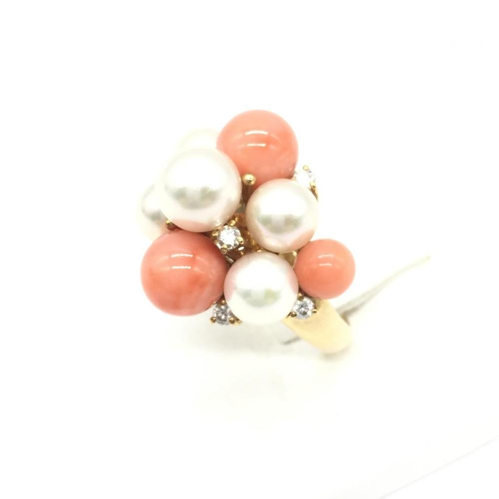 ジュエリー アクセサリー リング 指輪 サンゴ×パール K18 総重量9.3g ダイヤ D0.25ct 珊瑚 真珠 貴金属 レディース 中古 管理RT15726