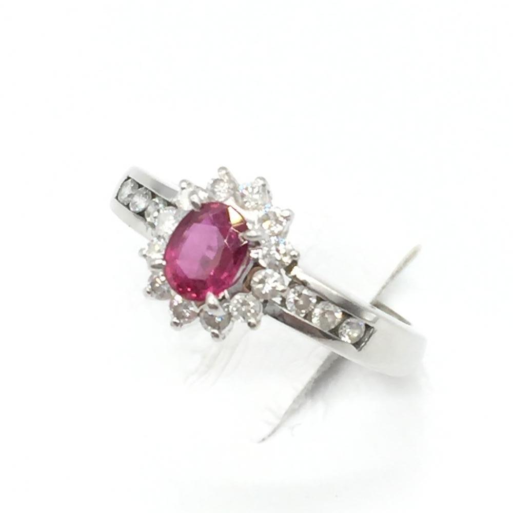 ジュエリー アクセサリー リング 指輪 プラチナ Pt900 ルビー R0.39ct ダイヤモンド D0.26 3.8g 貴金属 7.5号 中古 管理RT15756
