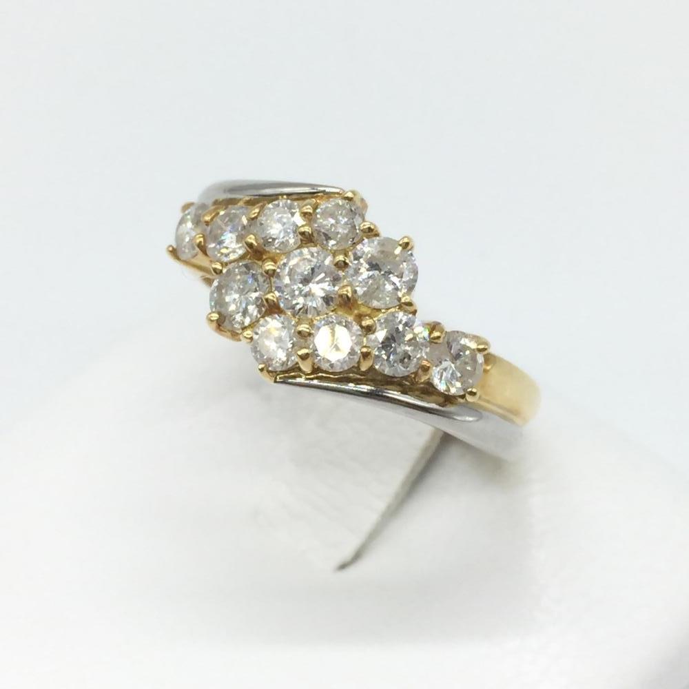 ジュエリー アクセサリー コンビリング 指輪 プラチナ Pt850 ゴールド K18 ラージメレダイヤ D1ct 5g 貴金属 中古 サイズ12号 管理RT15776
