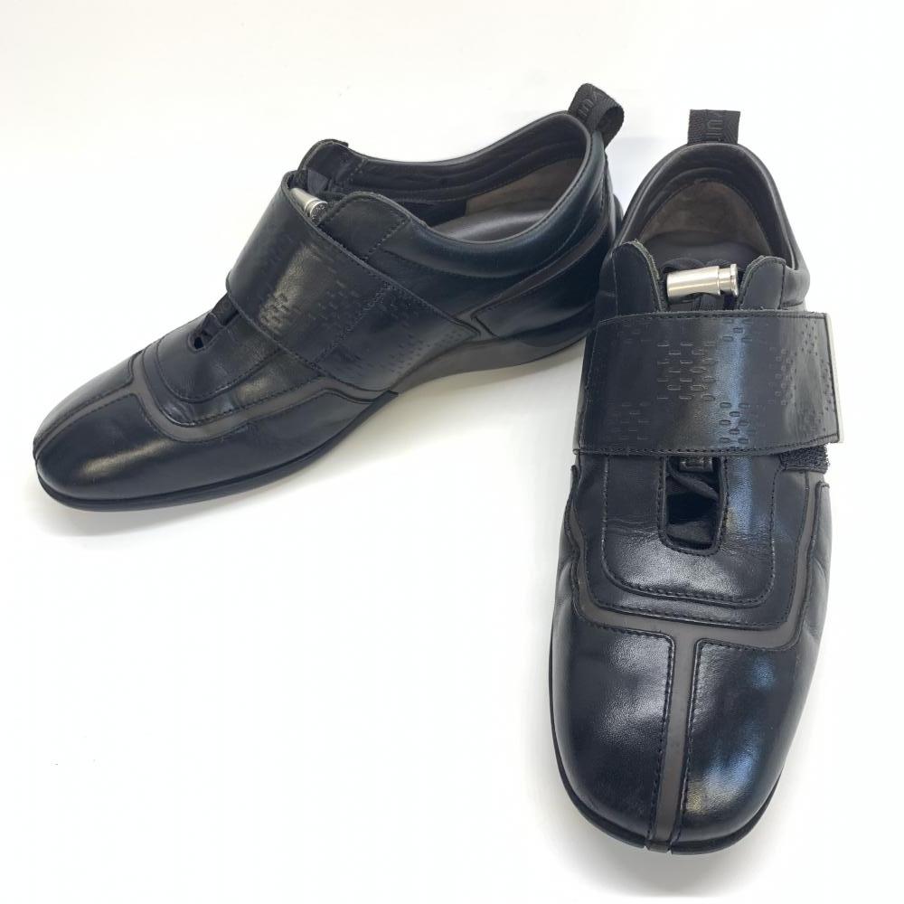 LOUIS VUITTON ルイヴィトン ベルクロ レザー メンズ シューズ 靴 ブラック ダークブラウン 黒 茶 サイズ5 24.5 ビジネス 管理RM15889