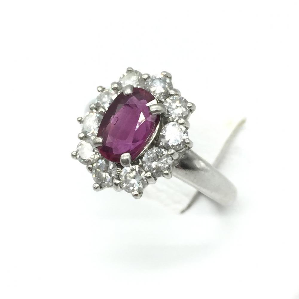 ジュエリー アクセサリー リング 指輪 プラチナ PT850 5.7g ルビー R1.23ct ダイヤモンド D0.85ct 貴金属 レディース 中古 管理RT15907