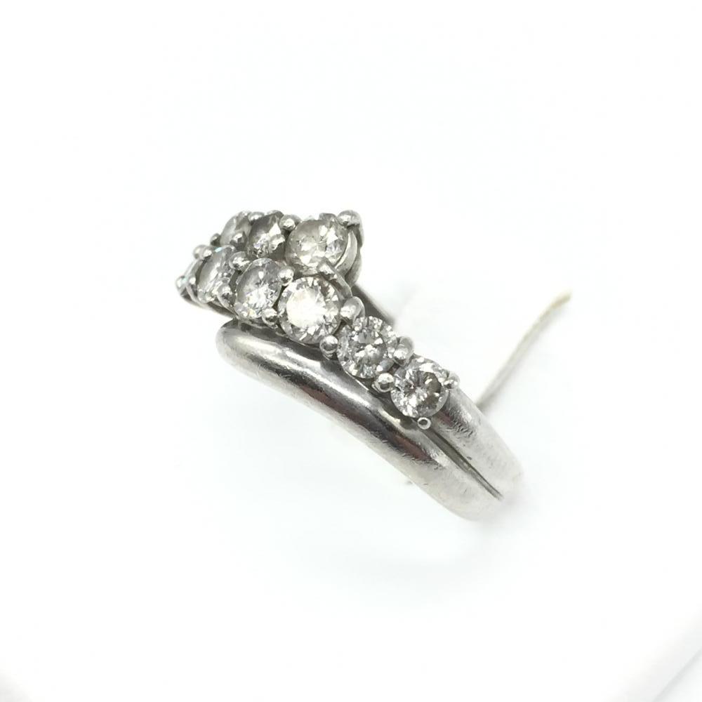 ジュエリー アクセサリー リング 指輪 プラチナ PT900 5.5g メレダイヤ MD1ct 貴金属 レデイース 女性 小物 9.5号 中古 管理RT15908