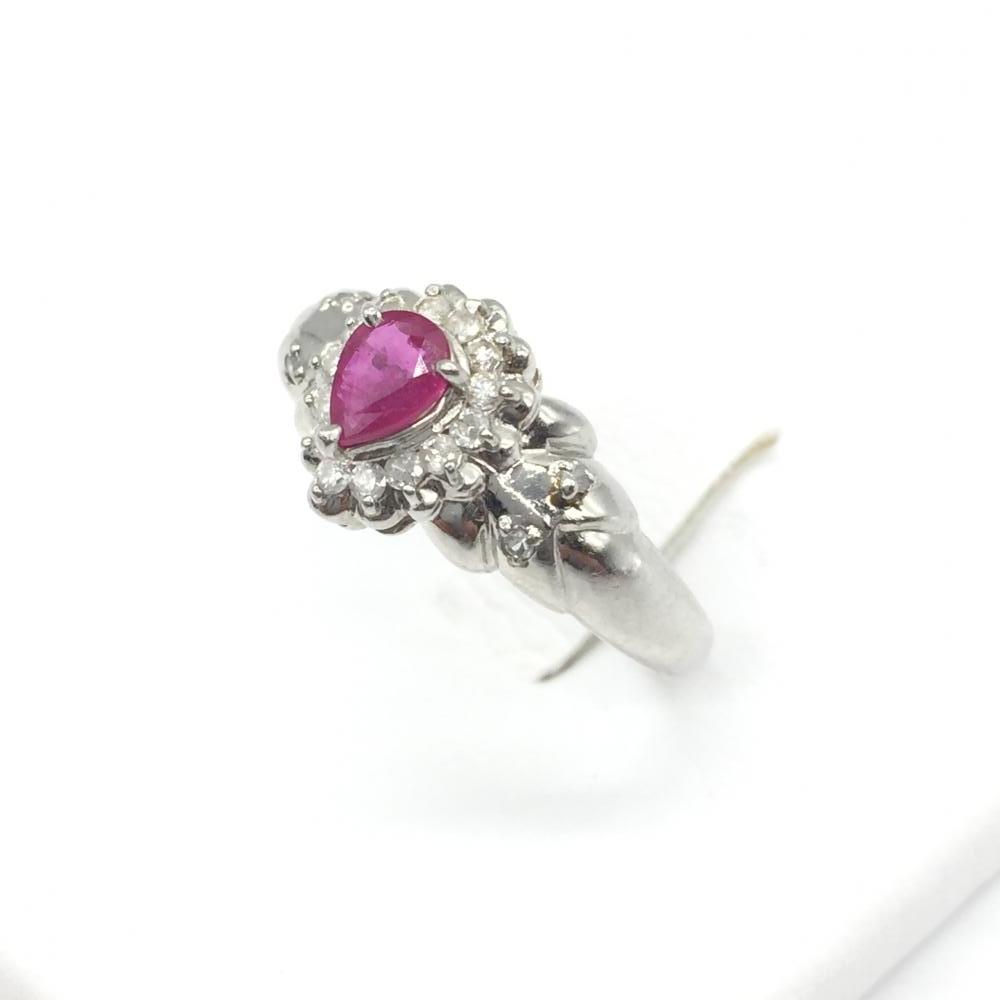 ジュエリー アクセサリー リング 指輪 プラチナ PT900 3.7g ルビー R0.4ct ダイヤモンド D0.16ct 貴金属 レディース 小物 中古 管理RT15909