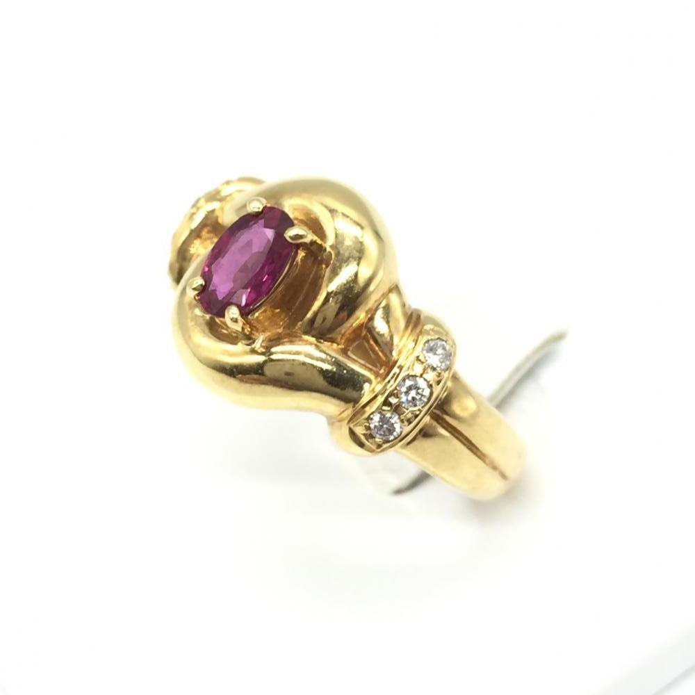 ジュエリー アクセサリー リング 指輪 K18 8.1g ルビー R0.51ct ダイヤモンド D0.11ct ゴールド 貴金属 12号 中古 管理RT15913