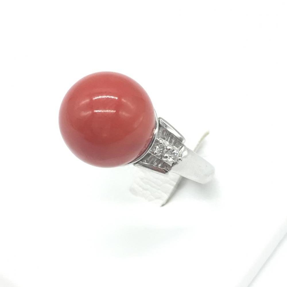 ジュエリー アクセサリー リング 指輪 プラチナ PT900 9.5g サンゴ 珊瑚 ダイヤモンド レディース 女性 貴金属 12号 中古 管理RT15918