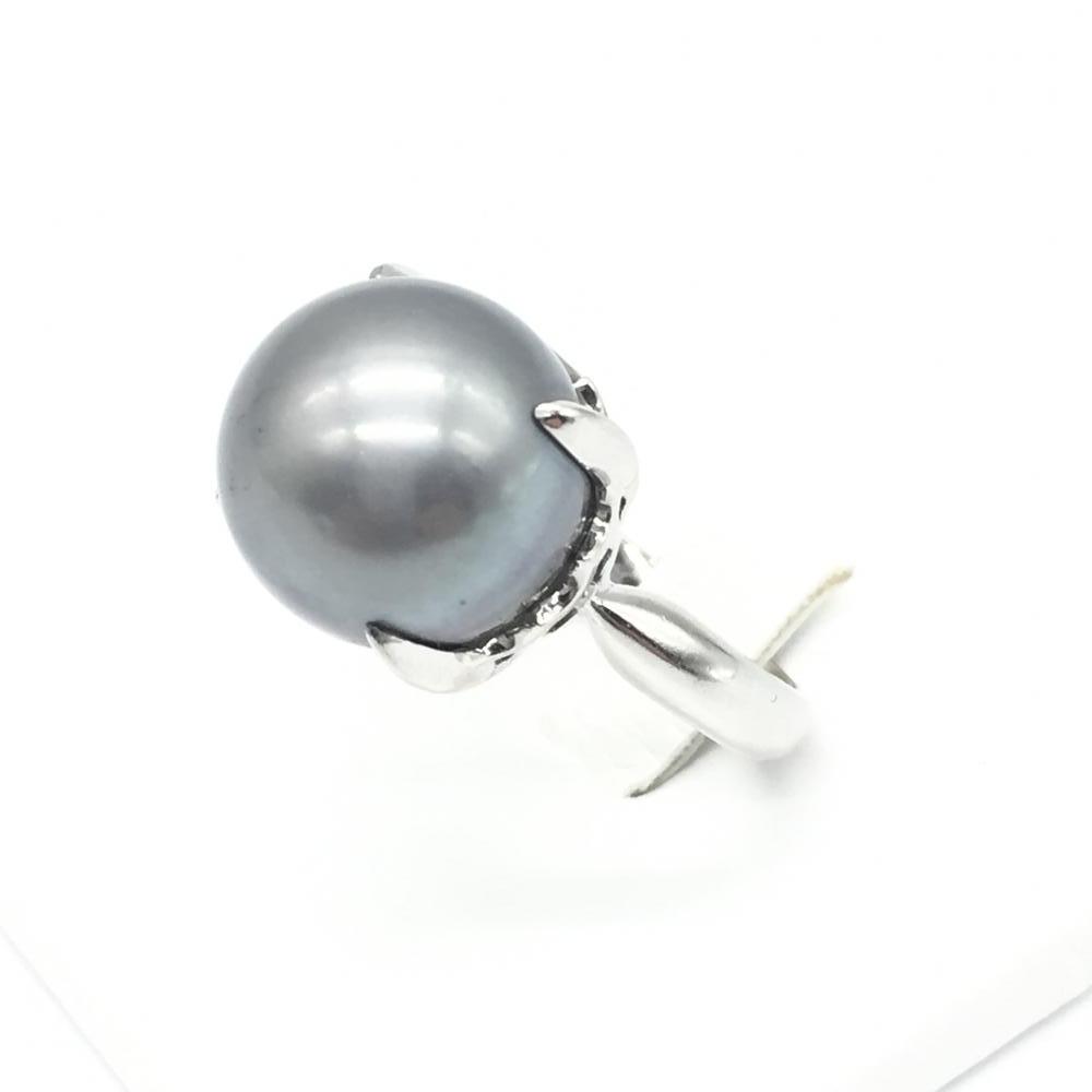 ジュエリー アクセサリー パールリング 指輪 プラチナ PT900 12.3g 黒真珠 13.5mm レディース 女性 貴金属 中古 管理RT15919