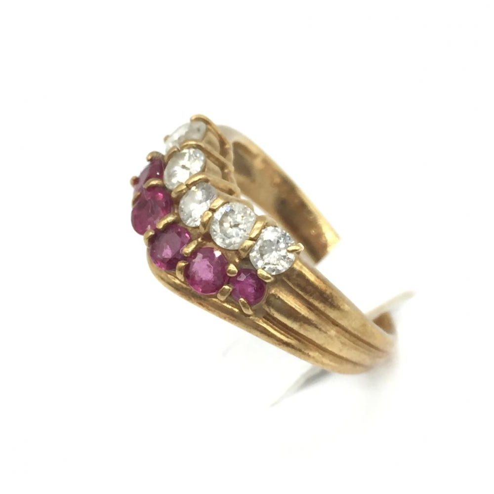 ジュエリー アクセサリー リング 指輪 ゴールド K18 5.2g ダイヤモンド ルビー D0.62ct R0.66ct 貴金属 中古 サイズ11号 管理RT16033