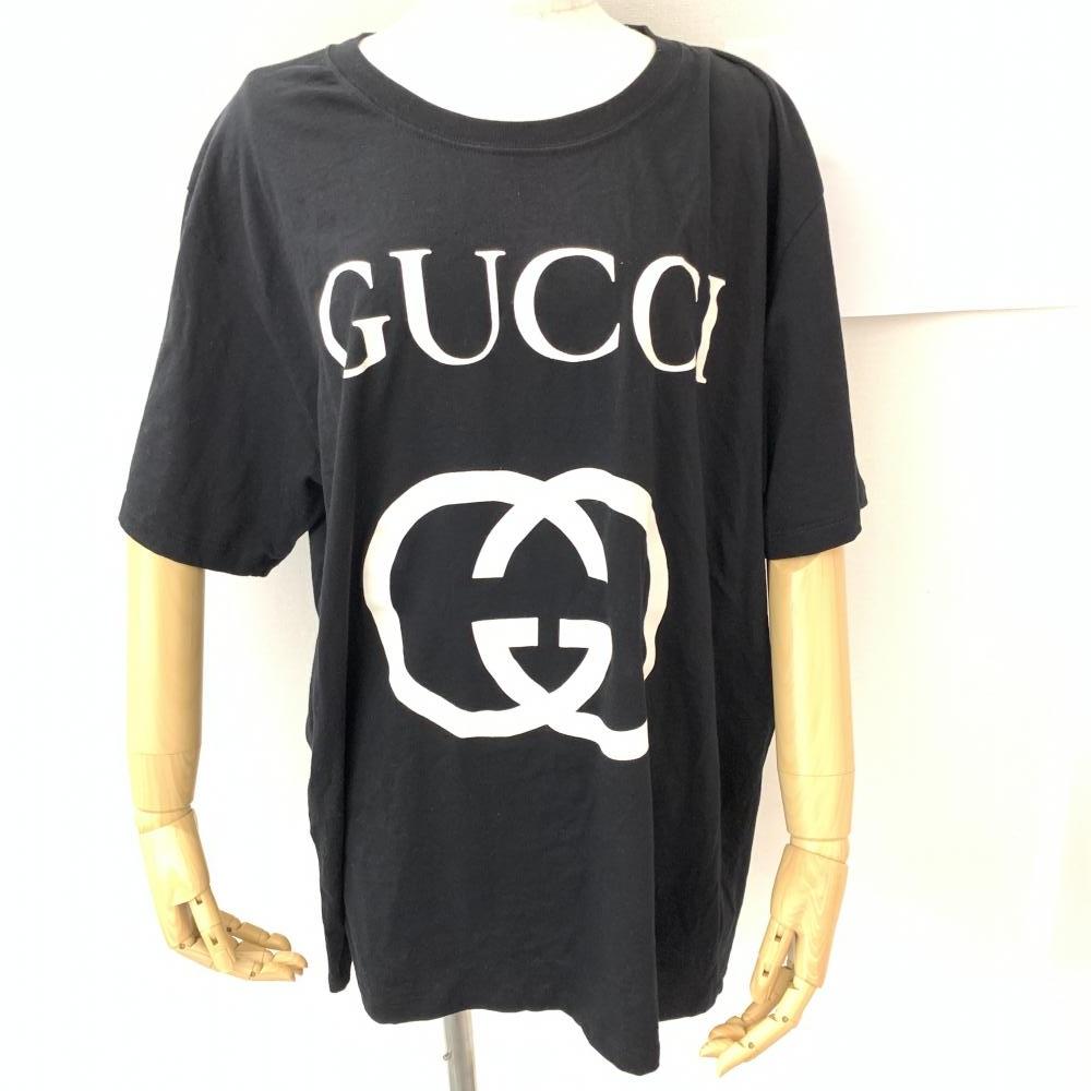 GUCCI グッチ インターロッキングG コットン オーバーサイズ Tシャツ サイズXL メンズ ブラック 黒 GG ロゴ 管理RM16081
