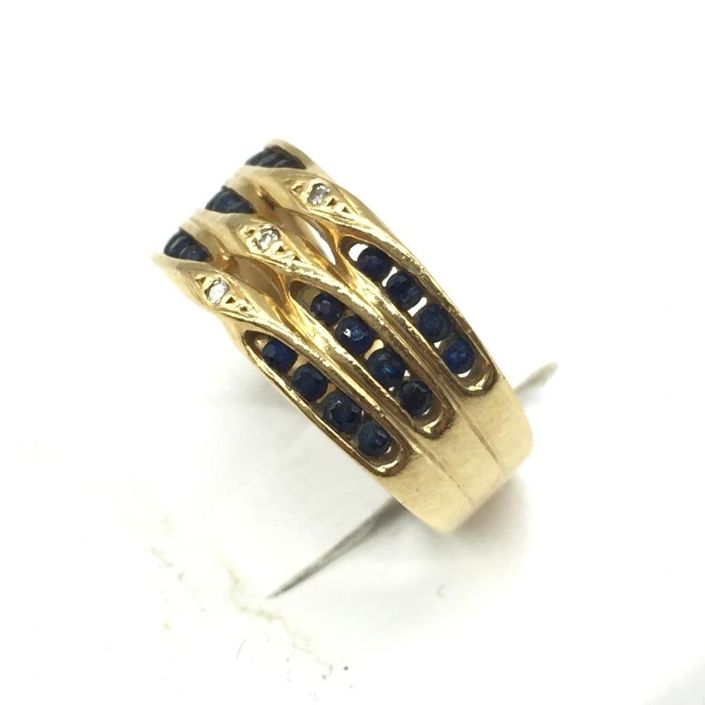 ジュエリー アクセサリー リング 指輪 K18 4.1g ゴールド 18金 青石 3連風デザイン 貴金属 9号 レディース 女性 小物 中古 管理RT16163