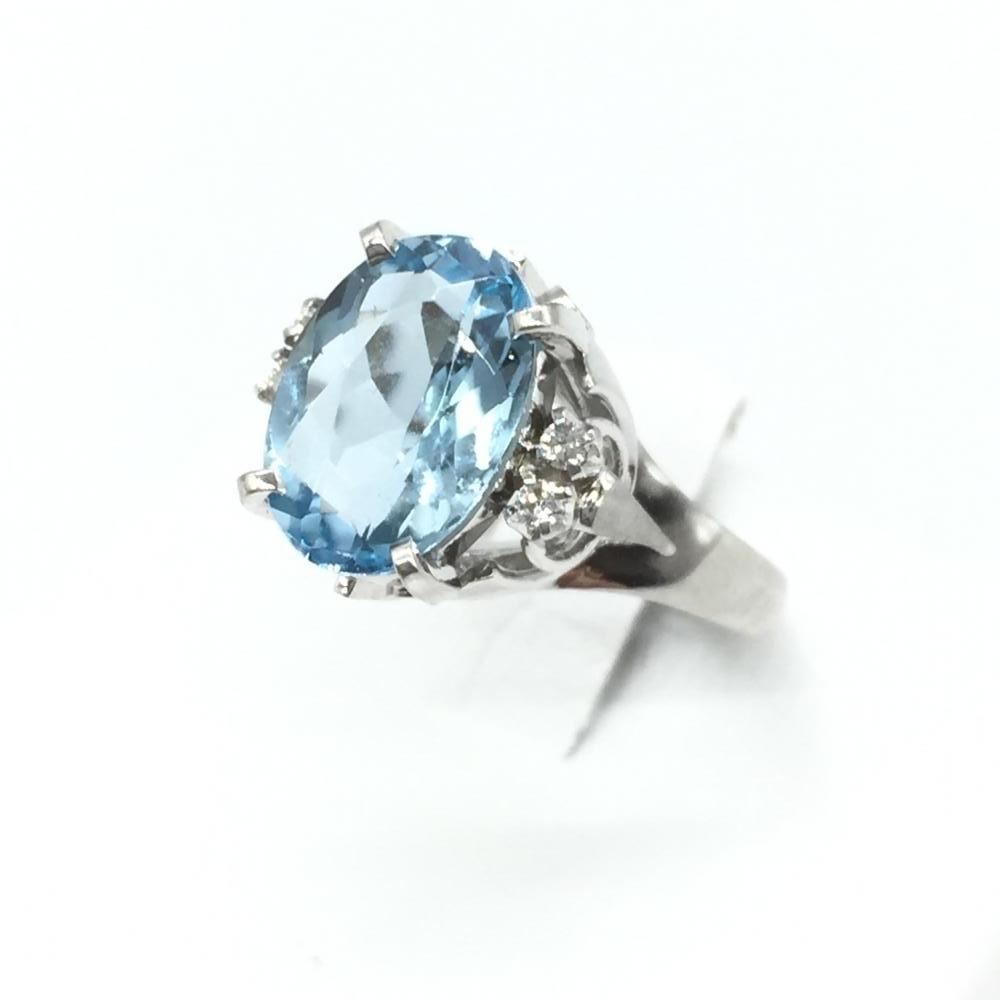 ジュエリー アクセサリー リング 指輪 プラチナ Pt900 5.6g 青石 1.93ct 貴金属 レディース サイズ10号 中古 管理RT16172