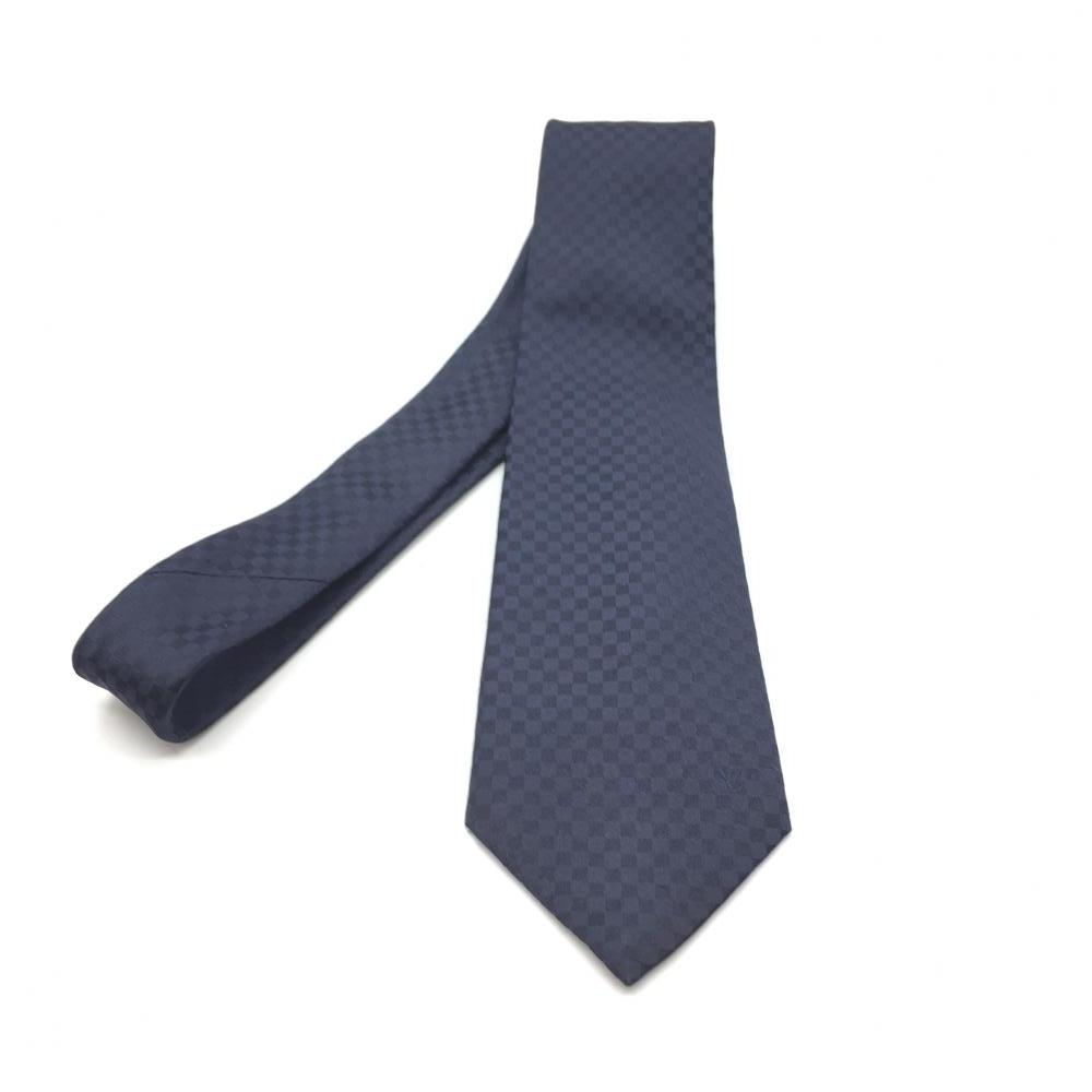 LOUIS VUITTON ルイ・ヴィトン ネクタイ ダミエグラフィット ネイビー 紺 メンズファッション 紳士服 ビジネス 小物 中古 管理RT16331