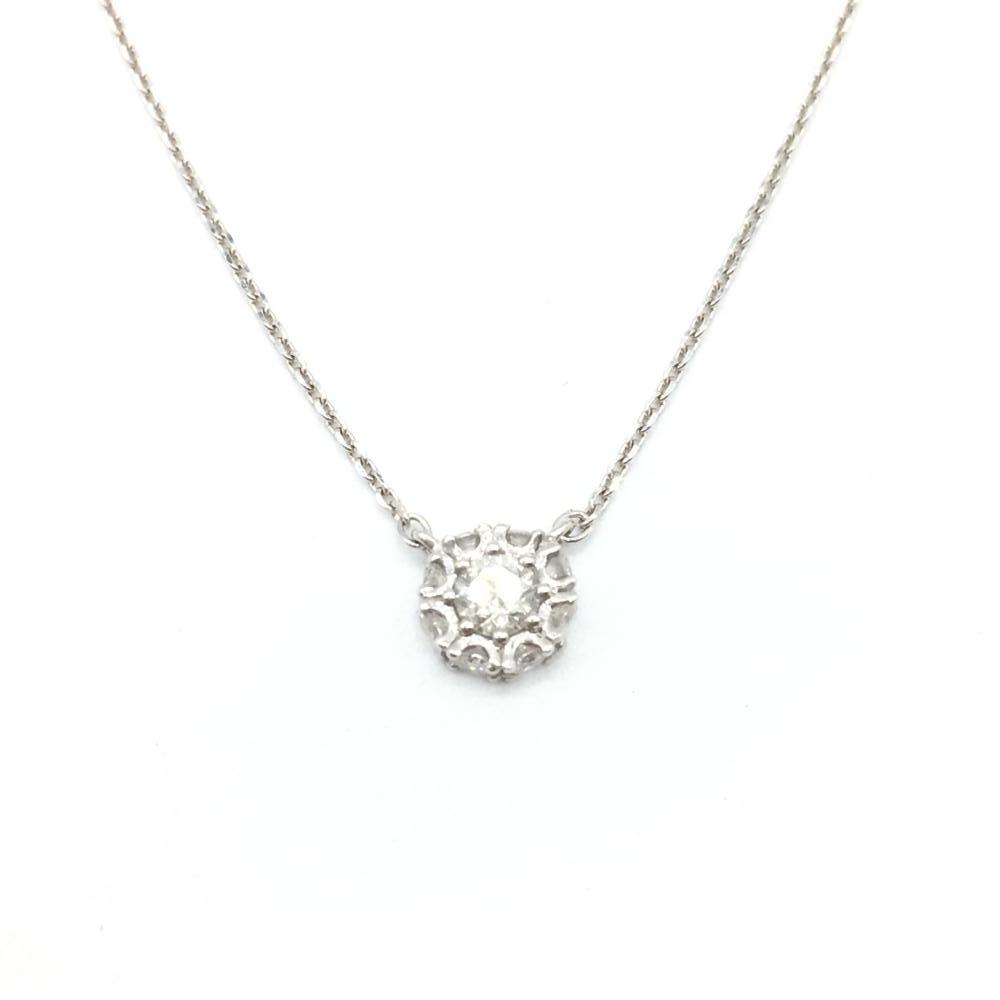 ジュエリー アクセサリー ネックレス ホワイトゴールド K18WG 1.4g ダイヤモンド D0.20ct 貴金属 レディース小物 中古 管理RT16343