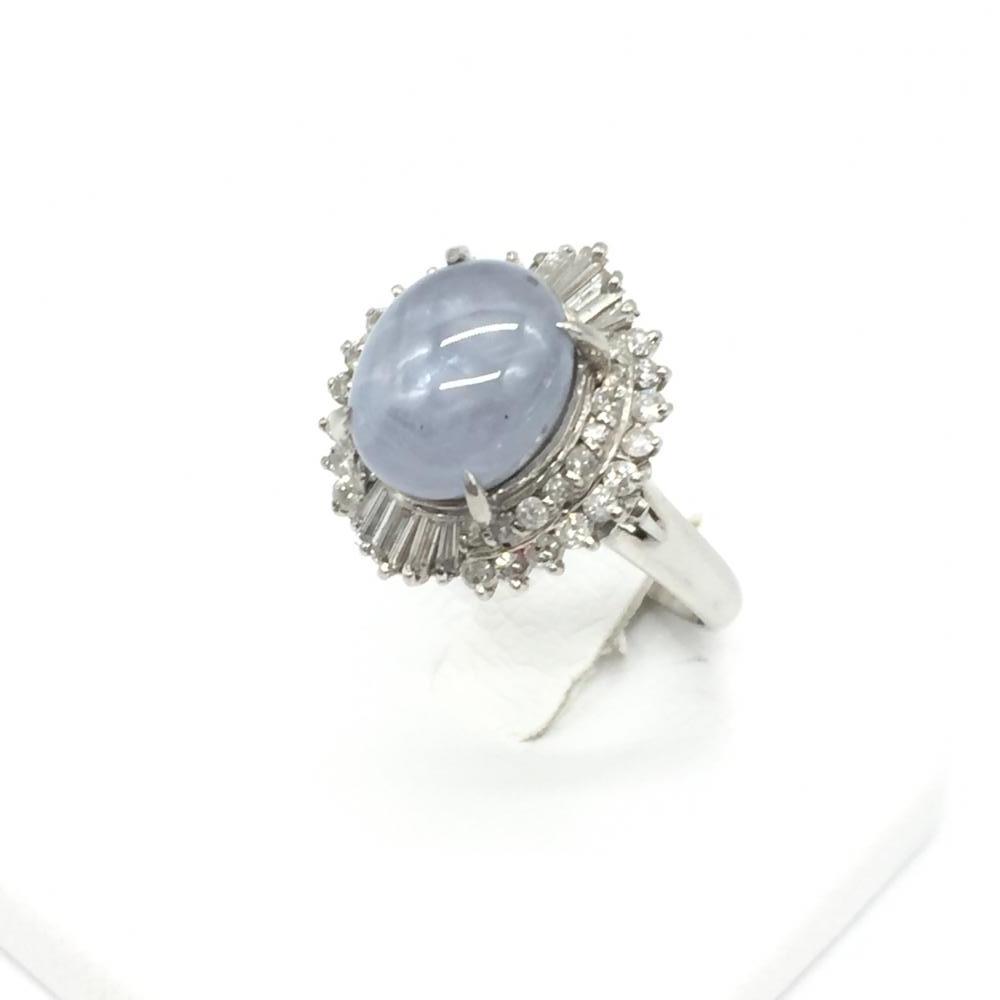 ジュエリー アクセサリー リング 指輪 プラチナ PT900 9.7g スターサファイア SS7.72 ダイヤモンド D0.70ct 14.5号 中古 管理RT16371