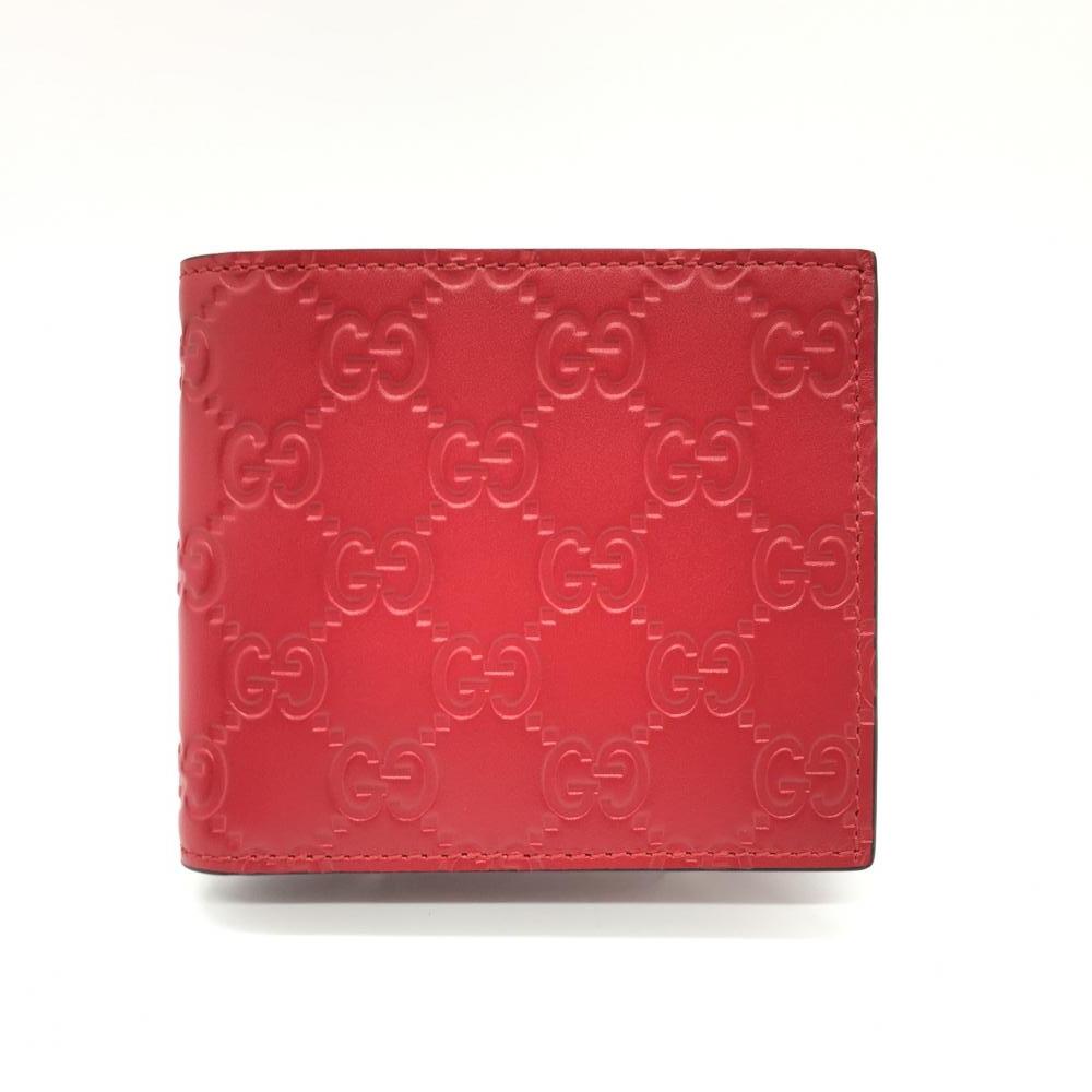 GUCCI グッチ 二つ折り財布 GG シマ レザー 赤 レッド コンパクトウォレット メンズ 365467 ブランド小物 未使用 管理RT16535