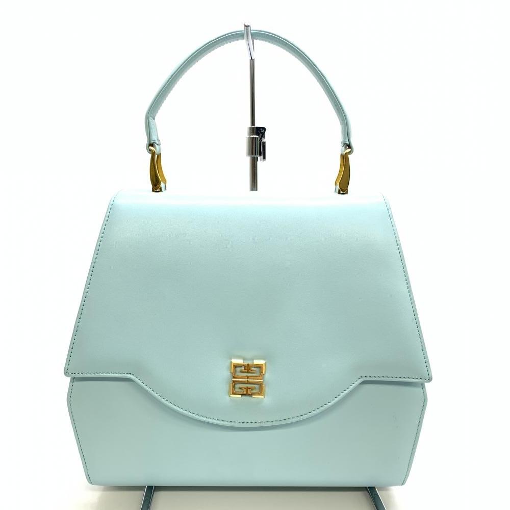 GIVENCHY ジバンシィ ジバンシー レザー ハンドバッグ 水色 ライトブルー 青系 フラップ ゴールド 金具 ロゴ レディース 管理RM16700