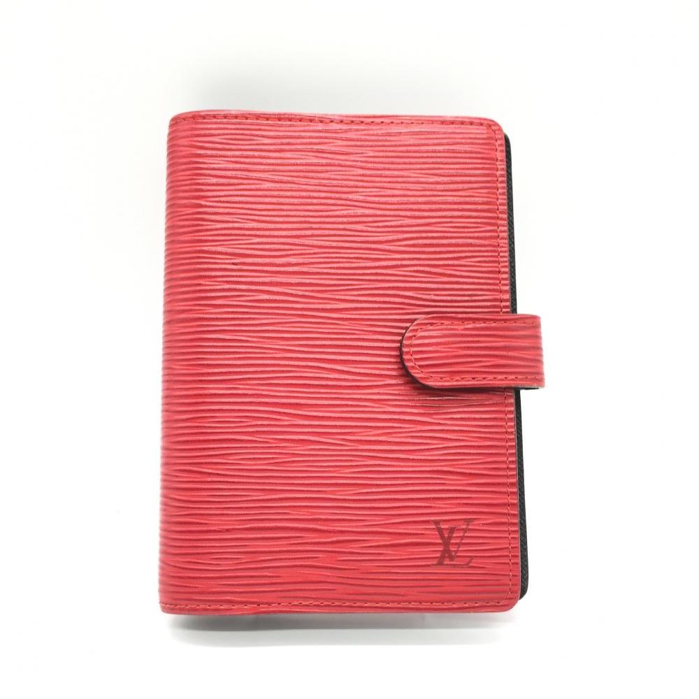 LOUIS VUITTON ルイ・ヴィトン アジェンダPM 手帳カバー エピ レッド 赤 6穴 レディース メンズ ビジネス ブランド小物 R20057 管理RT16792