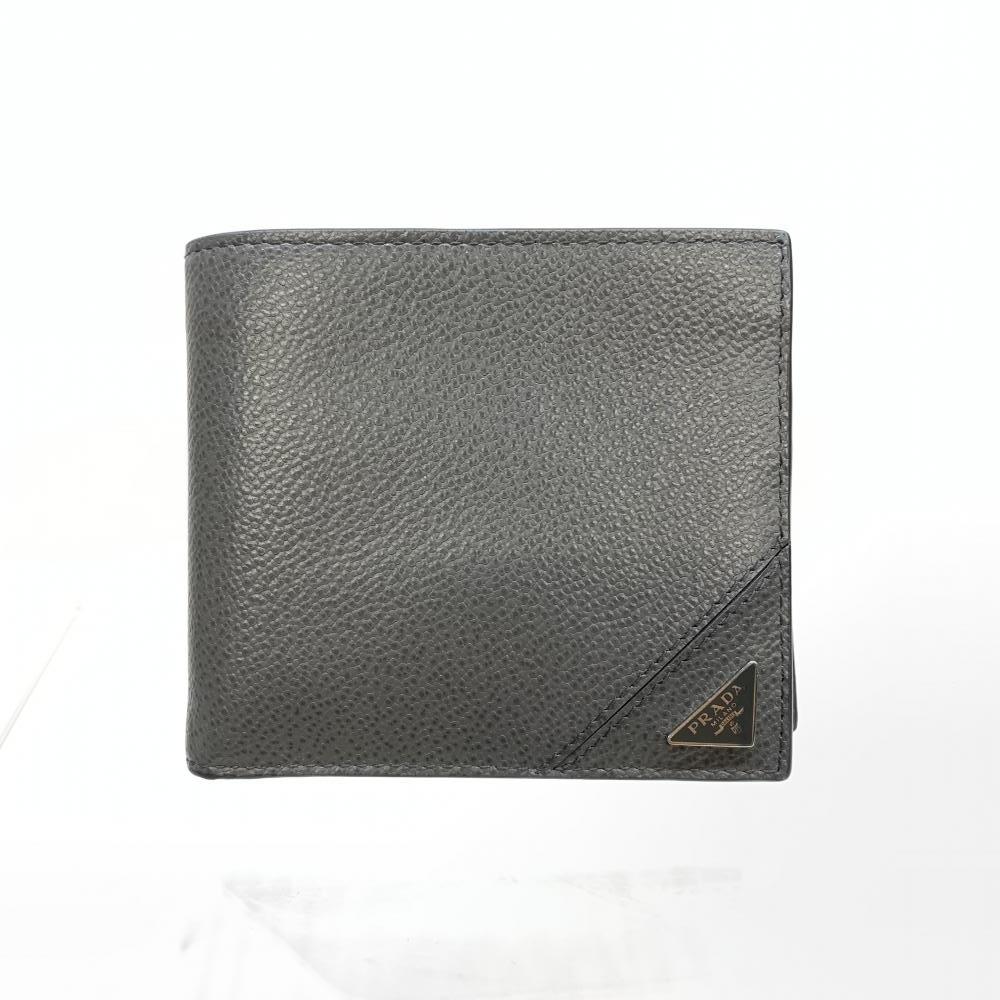 PRADA プラダ 2MO738 2つ折り財布 レザー ヴィッテロ グレインレザー グレー メンズ財布 三角プレート ロゴ 管理RM16887