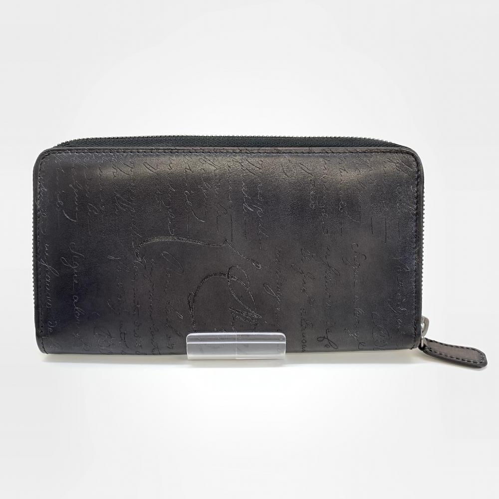 BERLUTI ベルルッティ ラウンドファスナー カリグラフィ イタウバ ブラック グレー レザー メンズ 長財布 管理RM17335