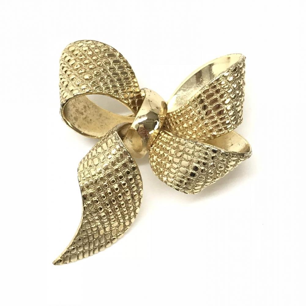 Dior ディオール ブローチ アクセサリー ジュエリー リボンモチーフ 金色 ゴールドカラー レディース 女性用 ブランド 管理RY17450