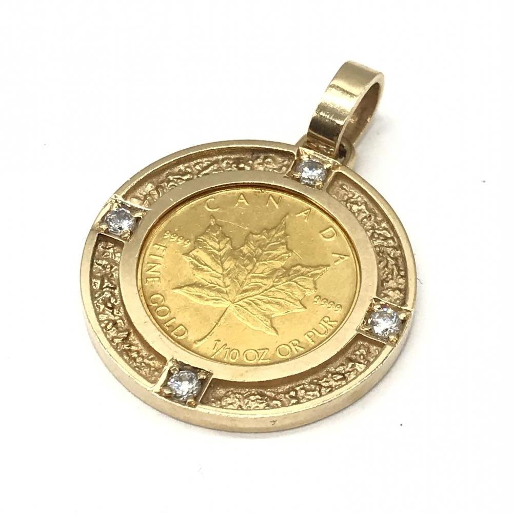 ジュエリー アクセサリー ペンダントトップ ネックレス K24/14K 総重量7.0g K24 3.11g 14K 3.79g ゴールド 金 カナダ コイン 管理RT17496