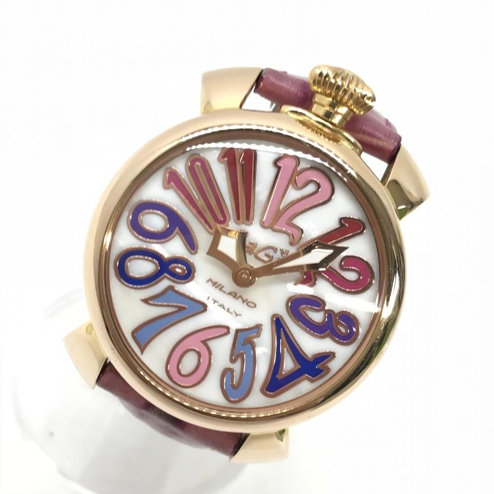 GaGaMILANO ガガミラノ 5021.1 マヌアーレ40 クオーツ ピンクゴールド レザーベルト 白文字盤 腕時計 QZ 管理RM17564