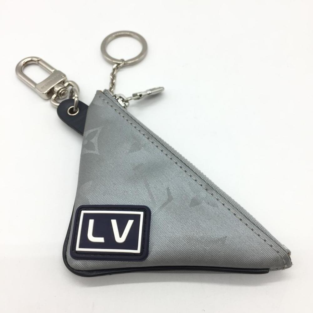 LOUIS VUITTON ルイ・ヴィトン モノグラムサテライト キーリングポーチ キーケース 鍵 MP2217 シルバー グレー ブランド小物 管理RT17760