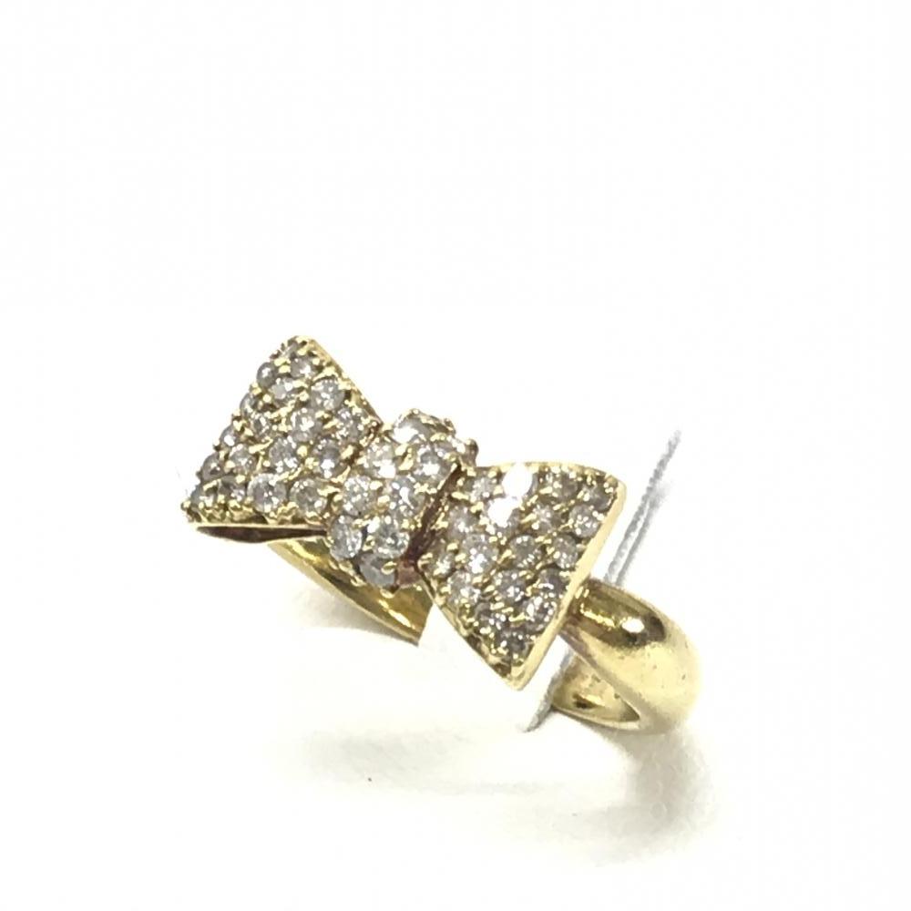 ジュエリー アクセサリー リング 指輪 リボンリング K18 D0.50ct 4.6g 11号 ゴールド メレダイヤ 貴金属 レディース 中古 管理HS17477