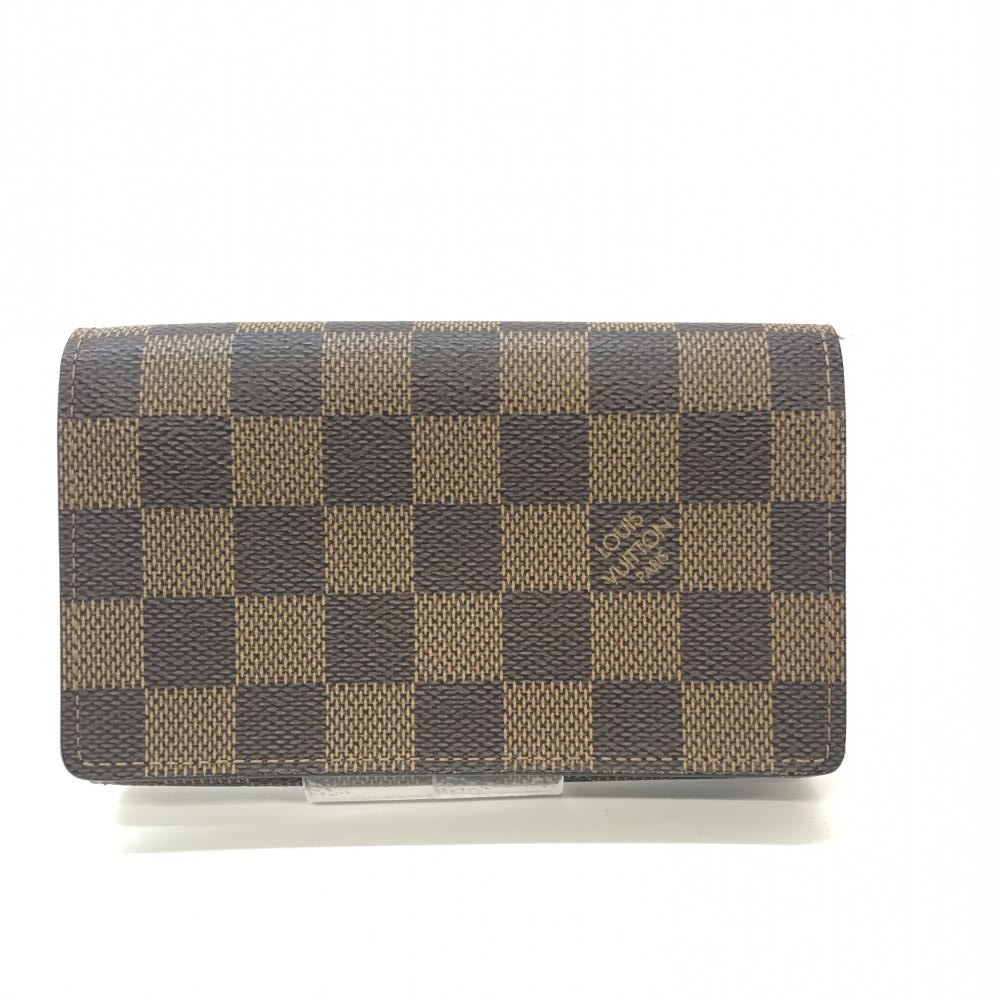 LOUIS VUITTON ルイ・ヴィトン N61736 ポルトフォイユトレゾーユ 二つ折り財布 ダミエ ブラウン レディース 保存袋 中古 管理HS17911