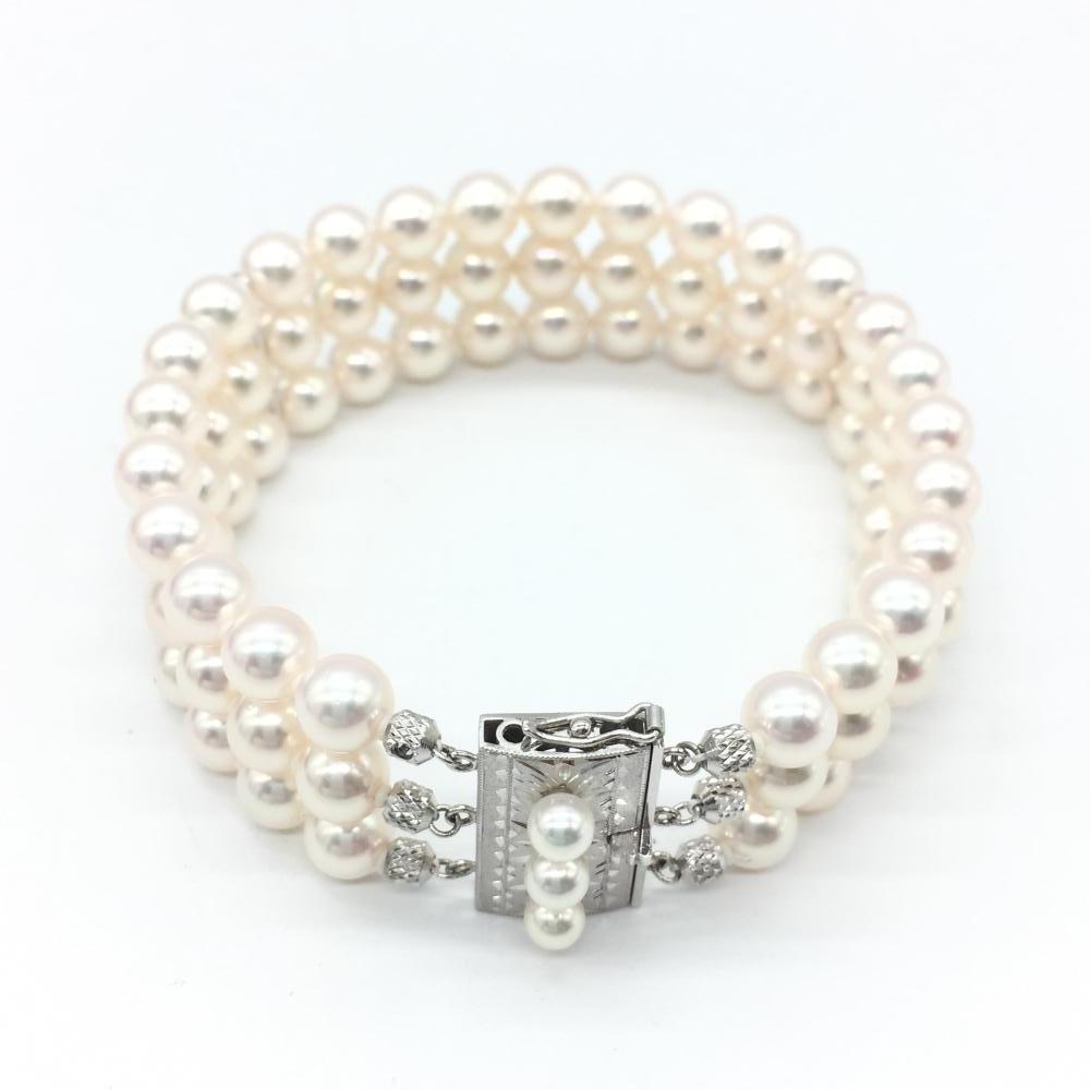 TASAKI タサキ ジュエリー アクセサリー パール3連ブレスレット 真珠 pt900 プラチナ パーティー 小物 管理RT17455