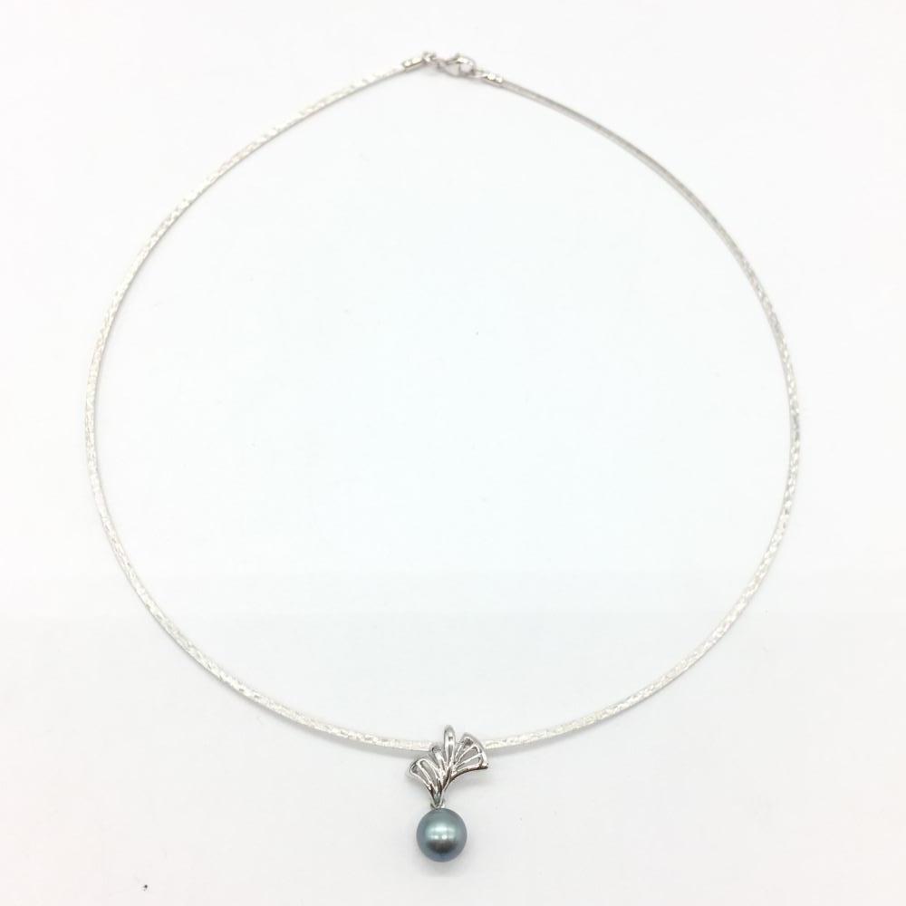 ジュエリー アクセサリー ネックレス K18 6.4g パール 黒真珠 ホワイトゴールド レディース 小物 管理RT17495