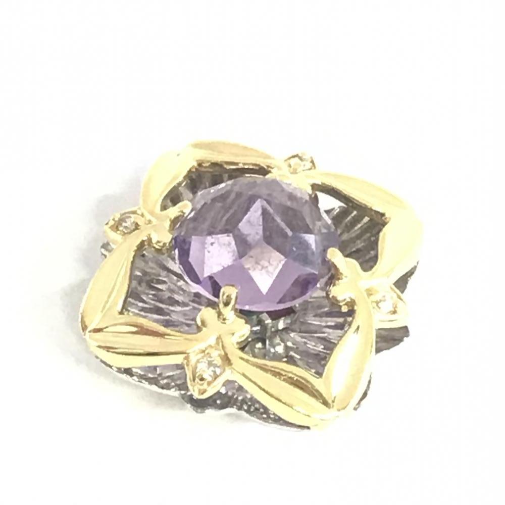GALATEA ガラテア ペンダントトップ K18WG ダイヤ D2.50 メレダイヤ D0.04 総重量6.5g ダヴィンチカット レディース 色石 中古 管理HS17799