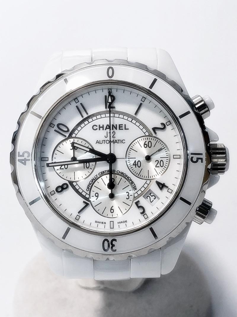 【CHANEL】 シャネル J12 クロノグラフ セラミック SS ホワイト 白 メンズ 自動巻き AT 腕時計 【中古】【送料無料】かんてい局亀有店