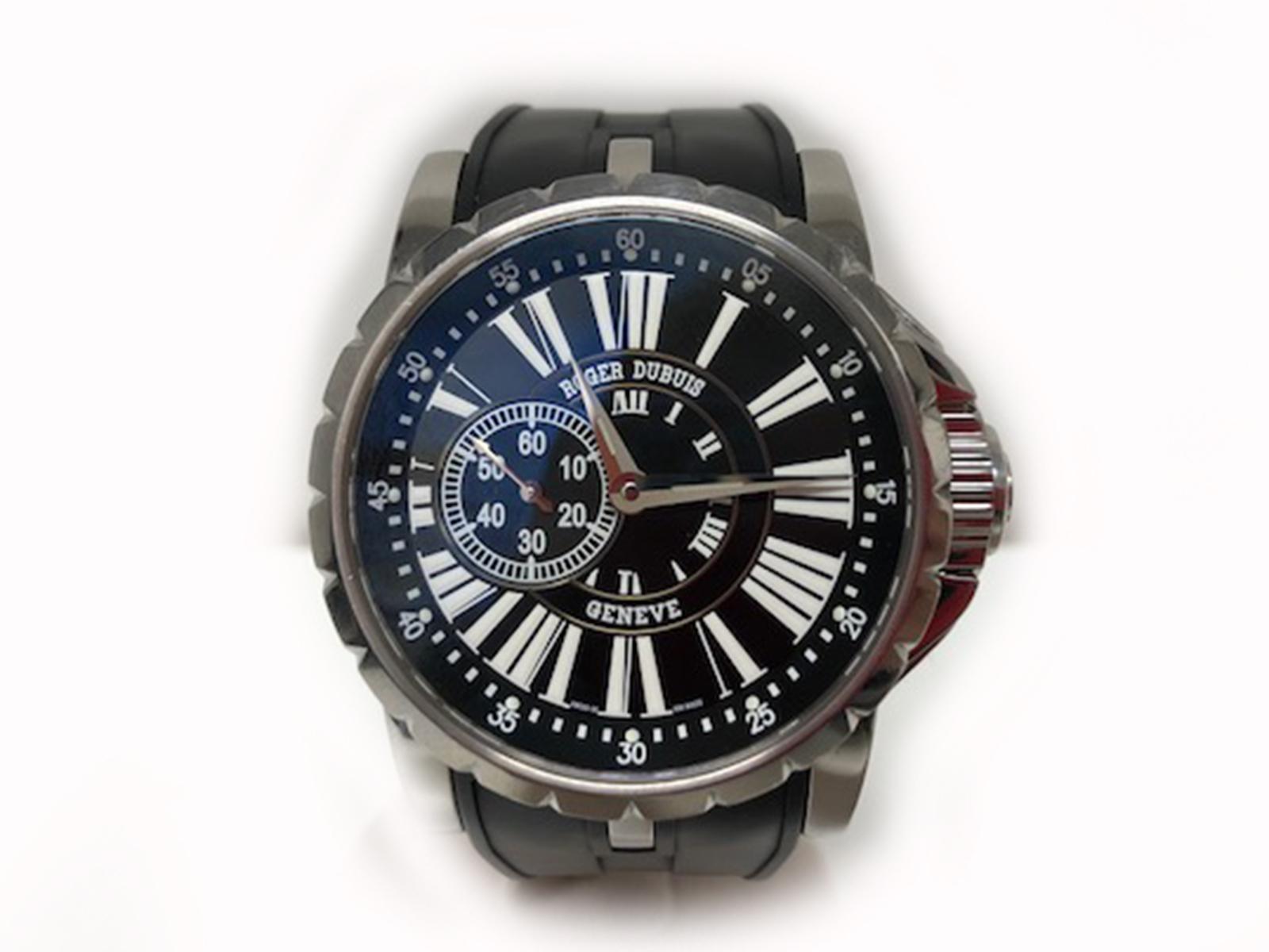 ROGER DUBUIS(ロジェドゥブイ)EX42 77 9 9.71R エクスカリバー 自動巻き ブラック文字盤 ラバーベルト メンズ腕時計【中古】