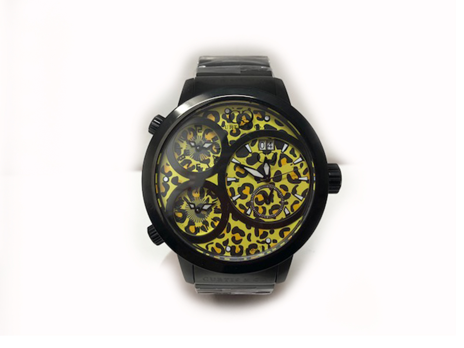 CURTIS&Co.(カーティス)The BIG Time WORLD 57mm YELLOW Leopard Dial SW57LY-B クオーツ SS ラバーベルト イエロー レオパード メンズ腕時計【中古】