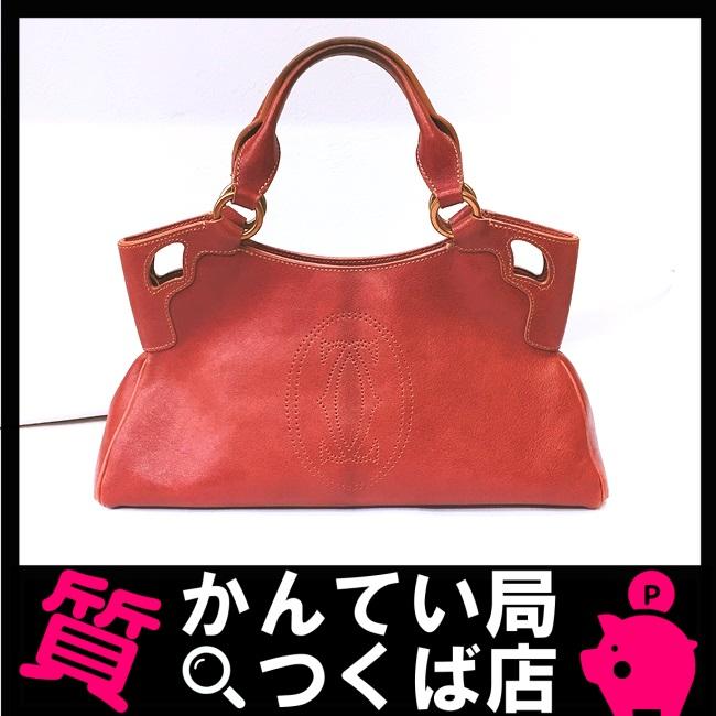 【中古】Cartier カルティエ マルチェロ ハンドバッグ レザー ボルドー 赤茶色 leather ブランドバッグ 上品 女性 レディース ランチ お出かけ デート 人気【難あり】