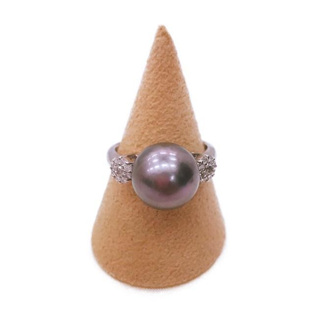 PT900 リング 指輪 パール 真珠 11MM ダイヤモンド D0.25 約7.3g/約13号 アクセサリー 【中古】