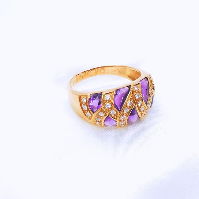 【限定!10倍ポイントバック】送料無料【中古】K18  ゴールド リング アメジスト 指輪 ダイヤモンド D0.28A2.93 約6.2g/約17号 資産 レディース アクセサリー ダイヤ セール K プレゼント ギフト 母の日