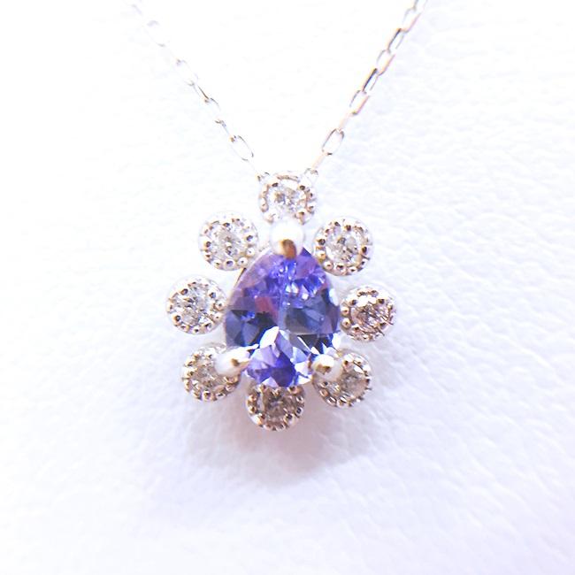 K18WG ダイヤモンド・タンザナイト ホワイトゴールドネックレス ダイヤ D0.08 T0.29ct タンザナイト 雫 約40cm/1.1g h 4月誕生石 【中古】