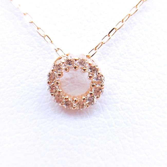 中古 K18PG チェーン ダイヤモンド 12P ポイント ダイヤ 今季も再入荷 ネックレス 着後レビューで 送料無料 アクセサリー 4月誕生石 約0.9g ダイア 約40cm D0.10