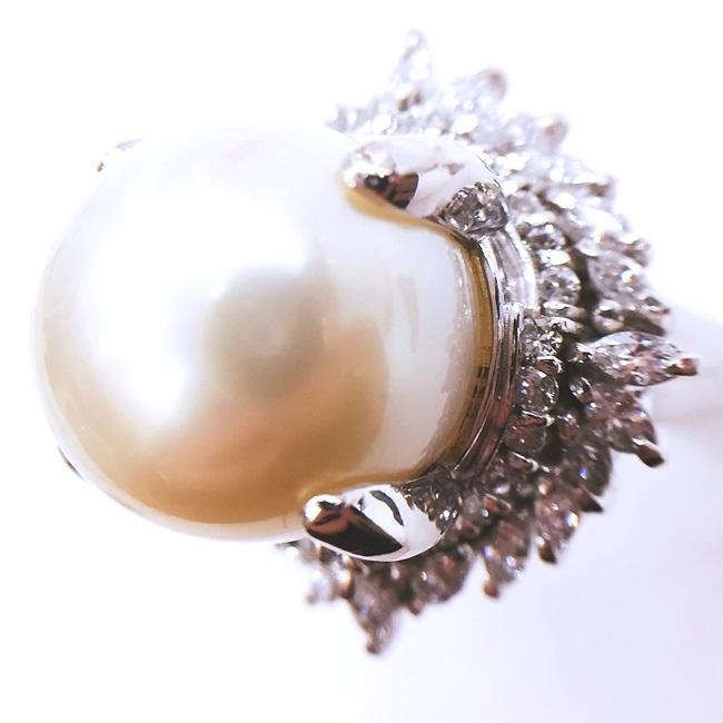 Pm900 パール・ダイヤモンド付プラチナリング 指輪 D1.892ct 真珠 パール約15mm #19.5/約26.8g 本真珠 h【中古