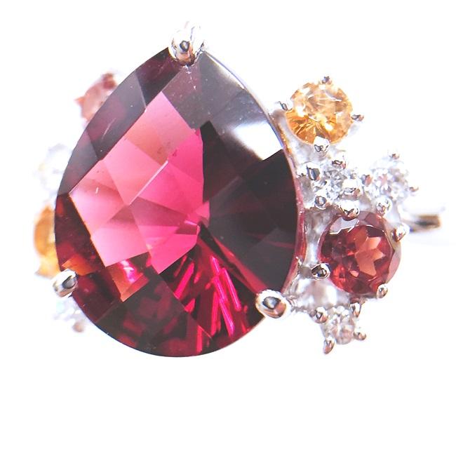 Pt900 ガーネット・ダイヤリング D0.11 G3.56 G0.40 約8.0g/約11.5号 ダイヤモンド 1月誕生石 h【中古】