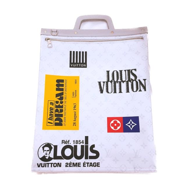 【2019SS】LOUIS VUITTON ルイ ヴィトン FLAT TOTEヴェルティカル トートバッグ M44627 モノグラムホワイトキャンバス 【中古】