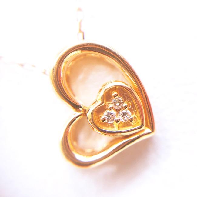 中古 大幅にプライスダウン K18PG ダイヤ付ゴールドネックレス D0.01ct 約40cm 約1.3g ハートモチーフ オープンハート 18金 ピンクゴールド 新色追加して再販 ノーブランドジュエリー 貴金属 宝石 4月誕生石