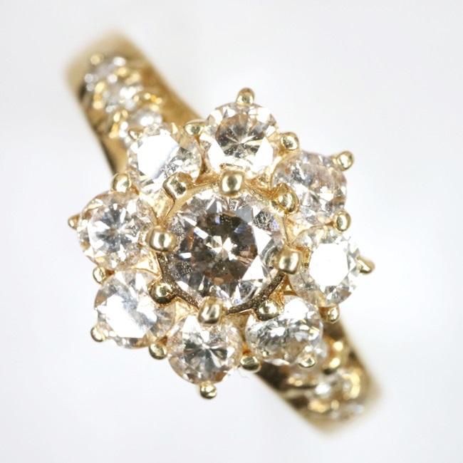 K18 ダイヤモンドリング D0.54ct 11号/2.7g フラワーモチーフ 4月誕生石 h【中古】