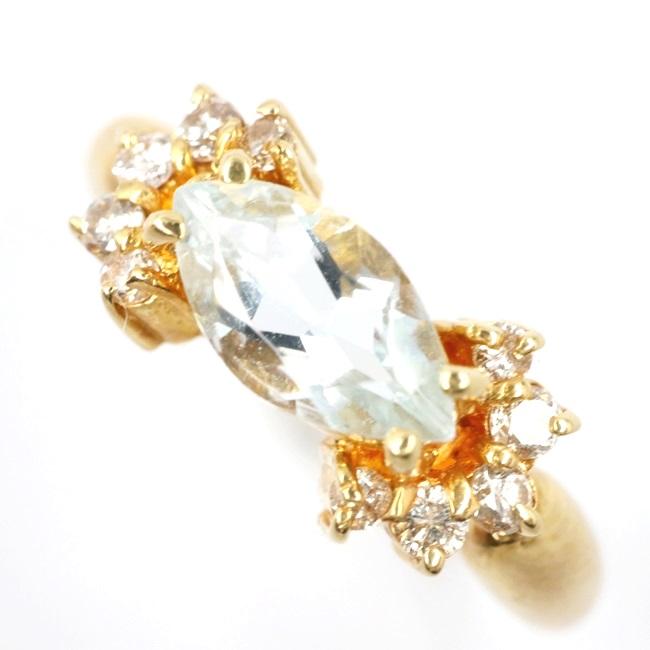 中古 超目玉 ジュエリーマキ jewelry MAKI K18 ゴールドリング アクアマリン イエローゴールド ブランドジュエリー 2.6g ダイヤ付ゴールドリング 12号 信託