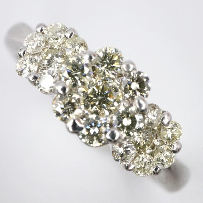 K18WG 750 リング D0.50ct 12号/約3.5g ダイヤモンドリング ホワイトゴールド フラワーモチーフ 花 指輪 【中古】