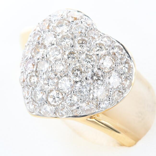 K18YG ハート ダイヤモンド 豪華 ゴージャス ハートパヴェダイヤモンドリング D1.02ct D0.48ct ギフト 中古 約11号 t 5☆大好評 プレゼント 約5.5g 人気 おすすめ 贈り物